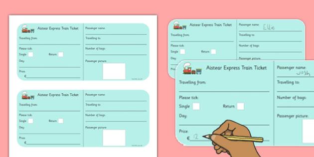 aistear transport train ticket template