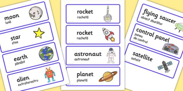 Spaceship Word Cards Romanian Translation - romanian, space ship