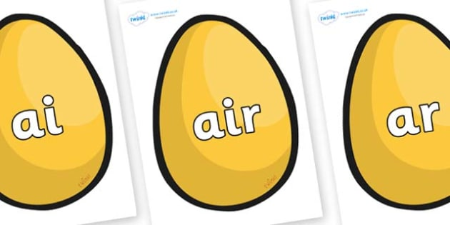 Phase 3 Phonemes on Golden Egg - Phonemes, phoneme, Phase 3, Phase three, Foundation, Literacy, Letters and Sounds, DfES, display