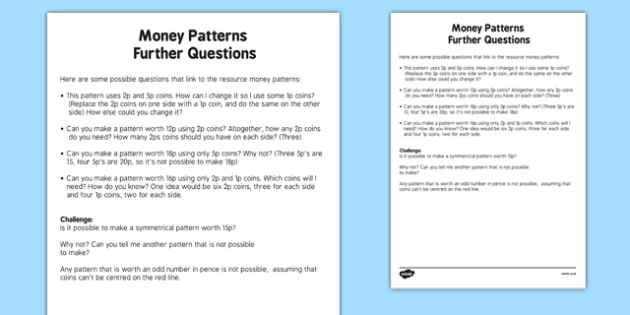 Money Patterns Further Questions - welsh, cymraeg, Money Patterns, Reasoning, Further Questions