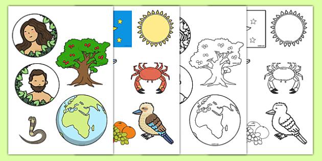 Adam and Eve Creation Story Cut Outs - Adam, Eve, Eden, serpent, fruit, earth, garden, creation, creation story, cutting, cut outs, cut, paradise, sea creatures, birds, stars, moon, sun, tree, evil, knowledge, animals, sky, night, day