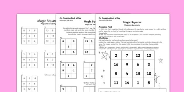 Magic Squares Activity Sheet Polish Translation - Amazing Fact Of The Day, activity sheets, powerpoint, starter, morning activity, September, magic squares, number, worksheet