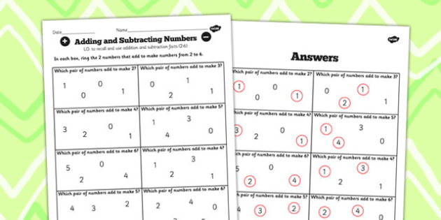 Number Facts Finding Pairs Worksheet 2-6 - number, facts, pairs
