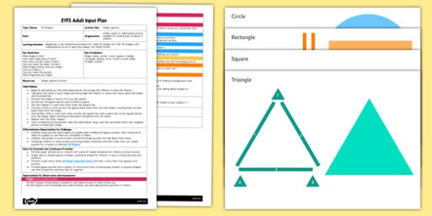 EYFS Shape Jigsaws Adult Input Plan and Resource Pack - adult led, jigsaw, shape, shaoe