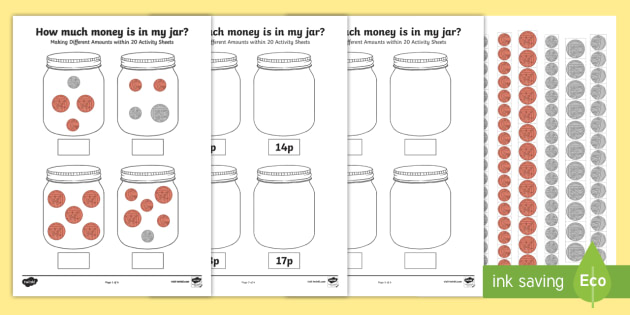 new how much money is in my jar making different amounts within 20. Black Bedroom Furniture Sets. Home Design Ideas