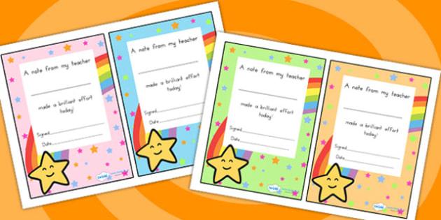 Note From My Teacher Brilliant Effort - teacher notes, rewards