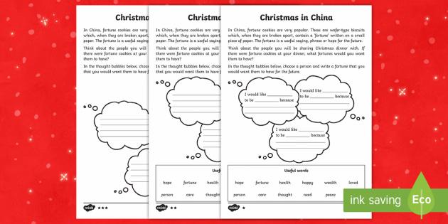 KS1 Christmas in China Differentiated Activity Sheet - Christmas, Nativity, Jesus, xmas, Xmas, Father Christmas, Santa, Worksheet,St Nic, Saint Nicholas, t