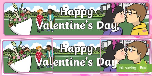 Cursive Happy Valentines Day Banner