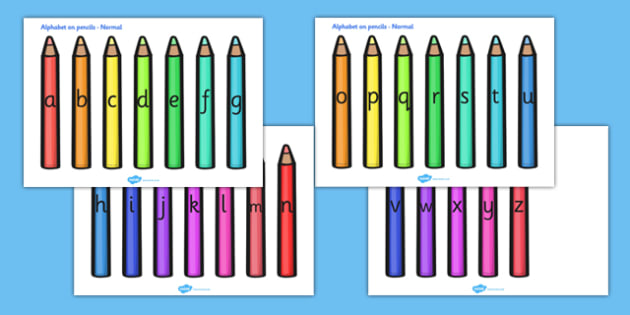 A-Z Alphabet on Coloured Pencils (A4) - Pencil, pencils, Alphabet frieze, Display letters, Letter posters, A-Z letters, Alphabet flashcards, colour display, colour posters, colour, display, poster, posters, colour mixing, black, white, red, green,