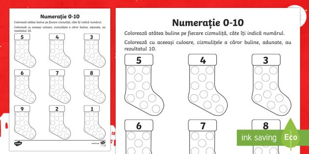 Colorează bulinele Fișă de lucru - crăciun, craciun, numerația 0-10, matematica, colorează după număr, numere, cifre, Sfântul Nic