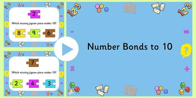 Number Bonds To Ten Jigsaw PowerPoint - number bonds, number bonds to ten, jigsaw, jigsaw powerpoint, powerpoint, matching, number bonds powerpoint