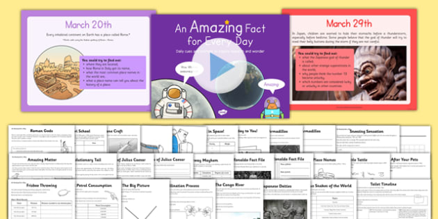 An Amazing Fact a Day March PowerPoint and Worksheet / Activity Sheet Pack, worksheet