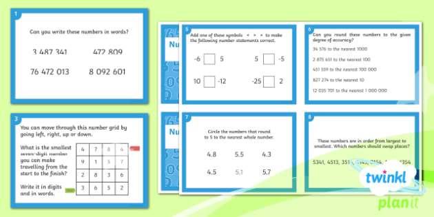 PlanIt Maths Y6 Number and Place Value Challenge Cards