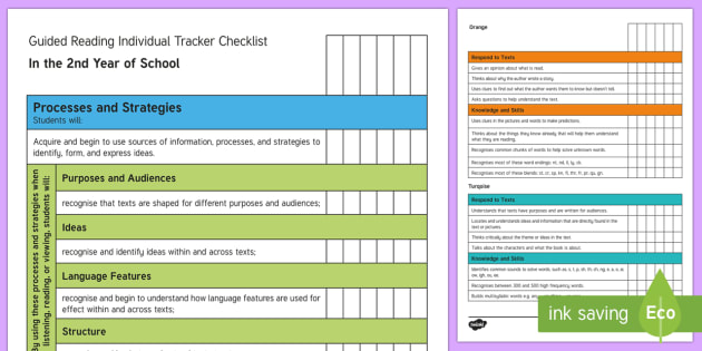 New Zealand 2nd Year of School Reading Individual Tracker Checklist - Reading, 2nd year of school, colour wheel, assessment.