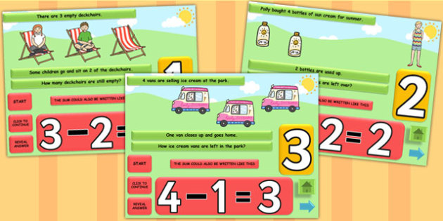 Summer Themed Subtraction PowerPoint - seasons, weather, subtract