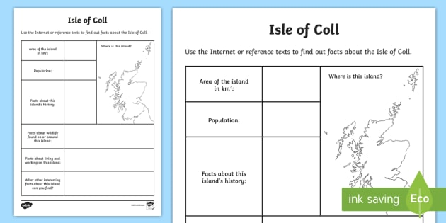 Isle of Coll Research Worksheet / Worksheet - Worksheet ...