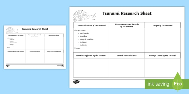 Au T S Tsunamis Research Writing Activity Sheet Ver on standard first grade science worksheet