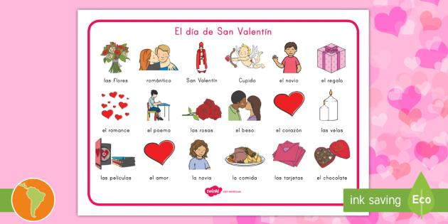 Tapiz De Vocabulario: Día De San Valentín   San Valentín, Día Del Amor,