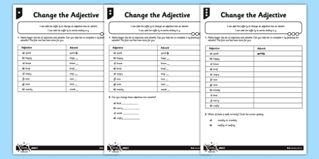 Change the Adjective Differentiated Worksheet / Activity Sheet Pack - GPS, spelling, grammar, suffix, ly, adverbs, worksheet