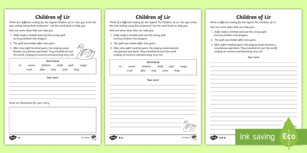 The Children Of Lir Creative Writing Worksheet / Worksheet