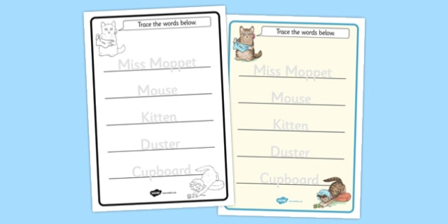 The Story of Miss Moppet Trace the Words Worksheets - miss, moppet, trace, worksheet, words, beatrix potter