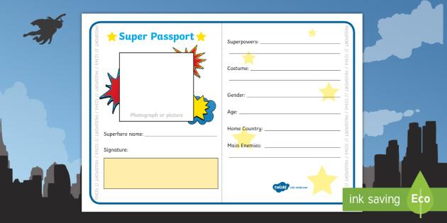 Superhero Passport Writing Frame - superhero, writing, literacy