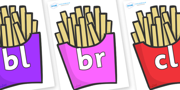 Initial Letter Blends on French Fries - Initial Letters, initial letter, letter blend, letter blends, consonant, consonants, digraph, trigraph, literacy, alphabet, letters, foundation stage literacy