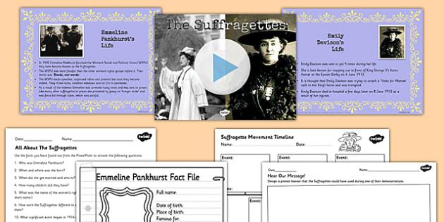 Emmeline Pankhurst and Emily Davison Teaching Pack - history