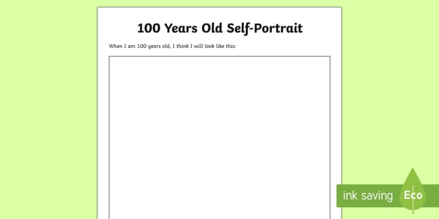 100 Years Old SelfPortrait Worksheet Activity Sheet 100th – Self Portrait Worksheet