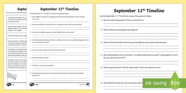 FREE! - September 11th Differentiated Timeline Activity