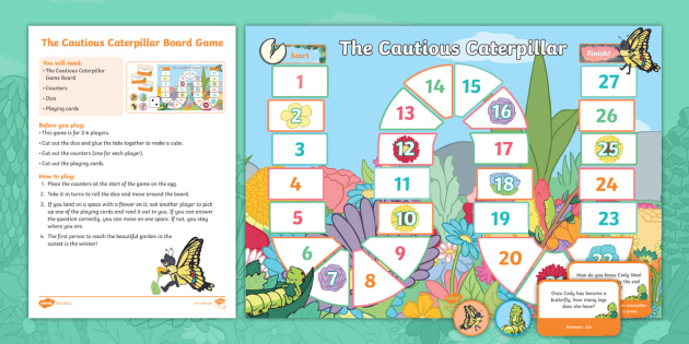 The Cautious Caterpillar Reading Comprehension Board Game
