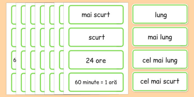 Unitati de masura, Timp, Cartonase cu vocabular - matematica - romanian, time, topic, word, cards, telling time