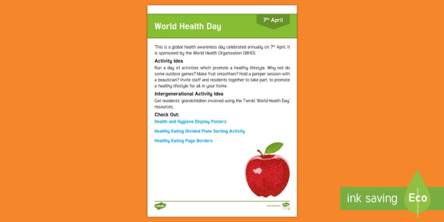World Health Day Adult Guidance - Calendar Planning April 2017, Activity Coordinators, Support, Planning, Eldely Care, Care Homes, Wor