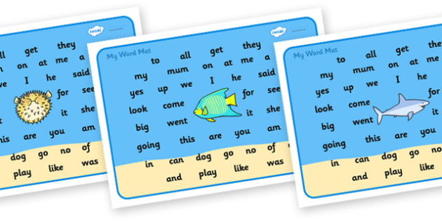 Under the Sea Word Mat FS2 - under the sea, under the sea word mat, under the sea ks3 word mat, under the sea high frequency words, high frequency words