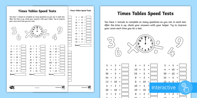 Year 2 Maths Times Tables Speed Tests Homework Worksheet - year 2, maths