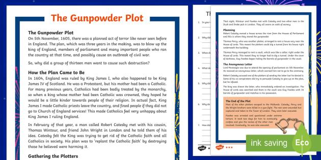 KS2 The Gunpowder Plot Differentiated Reading Comprehension Activity