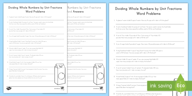 dividing whole numbers by unit fractions word problems worksheet  dividing whole numbers by unit fractions word problems worksheet  worksheet   division whole numbers