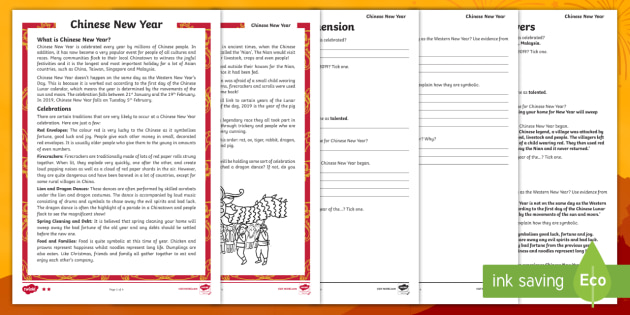 chinese new year reading comprehension activities. Black Bedroom Furniture Sets. Home Design Ideas