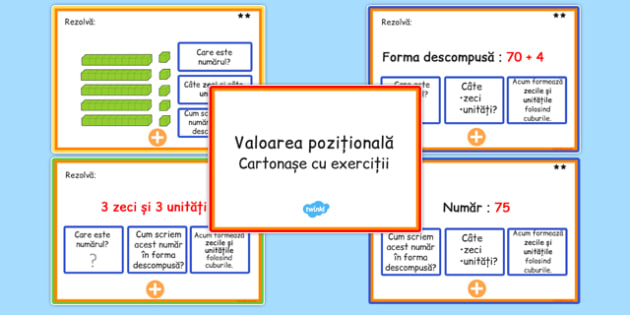 Valoare pozitionala, Cartonase cu probleme - matematica, zeci