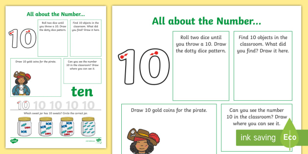 All About The Number 10 Worksheet (teacher Made)