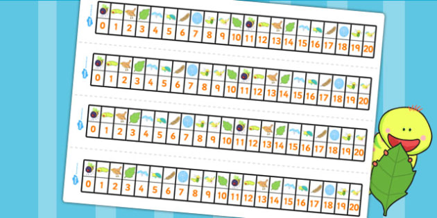 Number Track 0-20 to Support Teaching on The Crunching Munching Caterpillar - counting
