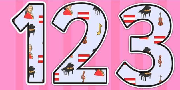 Wolfgang Armadeus Mozart Themed Display Numbers - wolfgang amadeus mozart, mozart,display numbers, themed number, classroom number, numbers for display