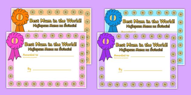 Mother's Day Certificate Polish Translation - polish, Mother's day card, mother's day cards, mother's day activity, mother's day resource, card, card template