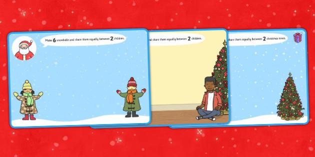 Christmas Division Playdough Mats - christmas, division, playdough, mats