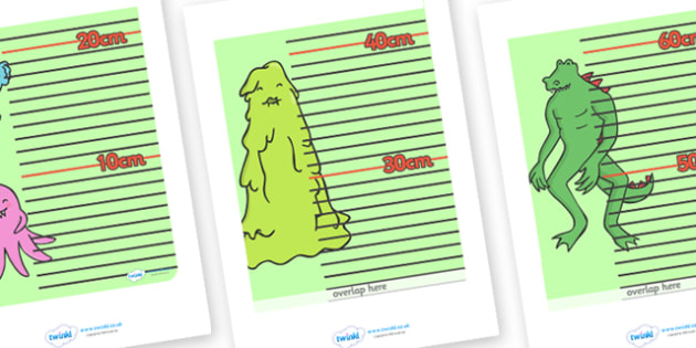 Monster Themed Height Chart - monster themed, height chart, height, heights, chart, record, monsters, scary, monster, centimetres, metres, different, measuring, measurement