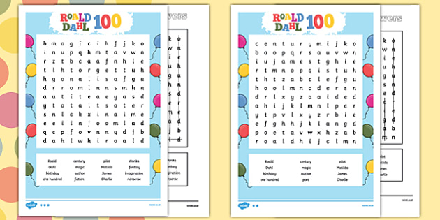 picture about 100 Word Word Search Printable called Roald Dahl 100 Phrase Look