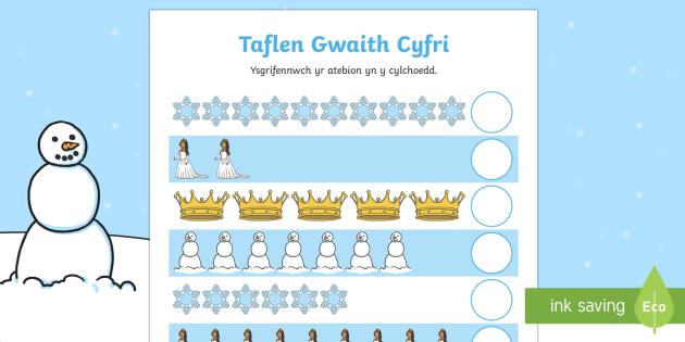 Taflen Gyfri Tylwyth Teg y Gaeaf - Y Gaeaf (Winter), Gaeaf, Arddangosfeydd, Tymhorau, Cyfnod Sylfaen, mathemateg, cyfri, adio, Welsh