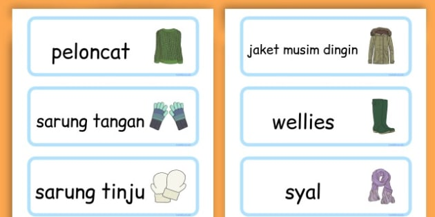 Winter Clothes Word Cards - winter clothes, word cards, winter, clothes - Indonesian