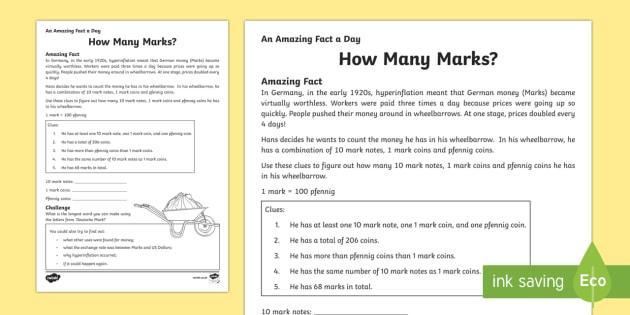 How Many Marks? Activity Sheet