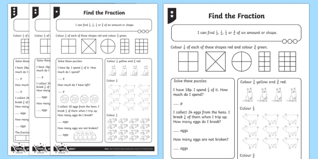 PlanIt Maths Y2 Fractions Find the Fraction Home Learning Tasks
